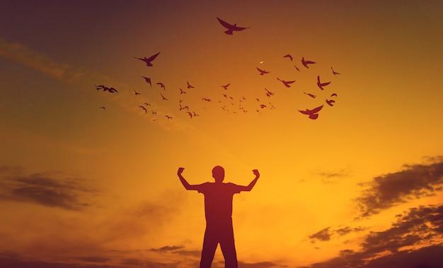 Slagen het beeld van een succesvolle jonge man op elk gebied van persoon zwart silhouet Premium Foto