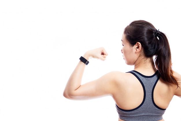 Slank lichaam van vrouwen die sportkleding dragen. Premium Foto