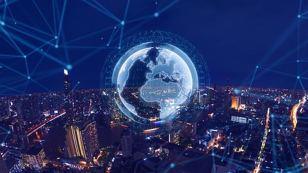 Slimme stad en wereldwijd netwerkconcept Premium Foto