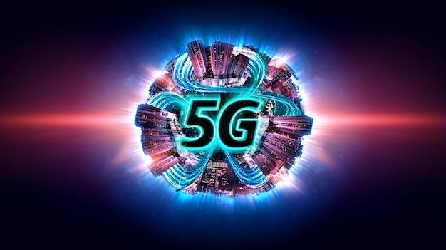 Slimme stad met 5g internetnetwerken. gegevensoverdrachtskanaal. Premium Foto