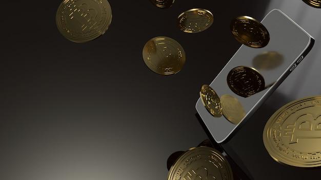 Slimme telefoon en bitcoin het 3d teruggeven voor bedrijfsconcept. Premium Foto