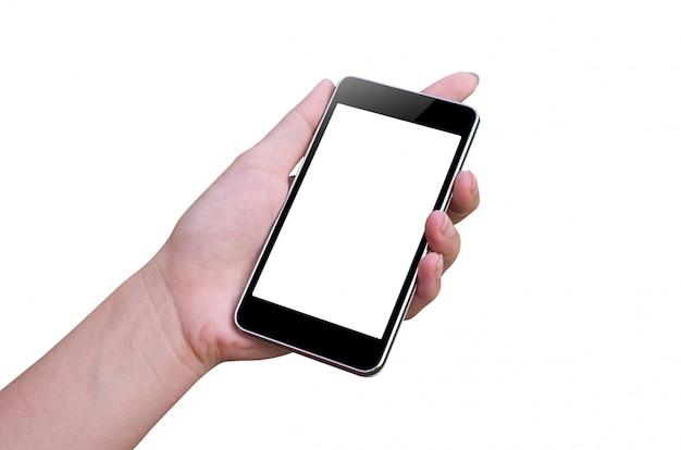 Slimme telefoon en hand Premium Foto