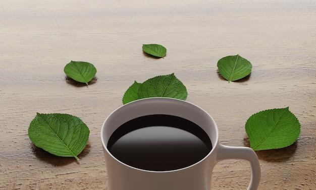 Sluit omhoog coffekop met groene bladeren op lijst Premium Foto