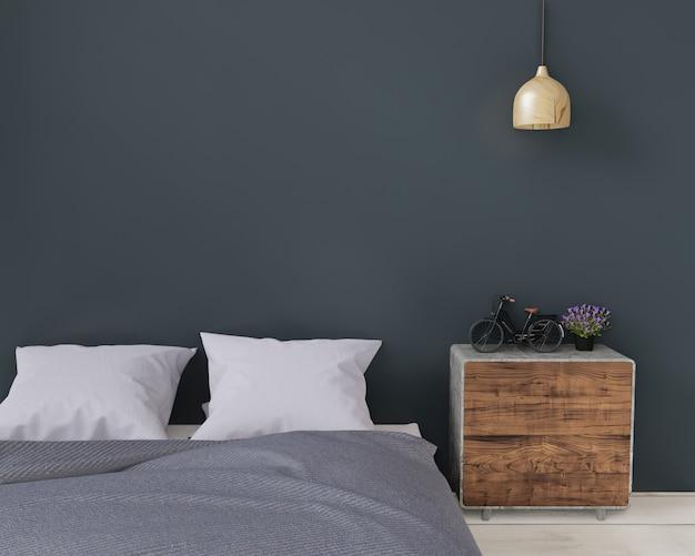 Sluit omhoog donkergroene moderne slaapkamer met buffet en lamp Premium Foto