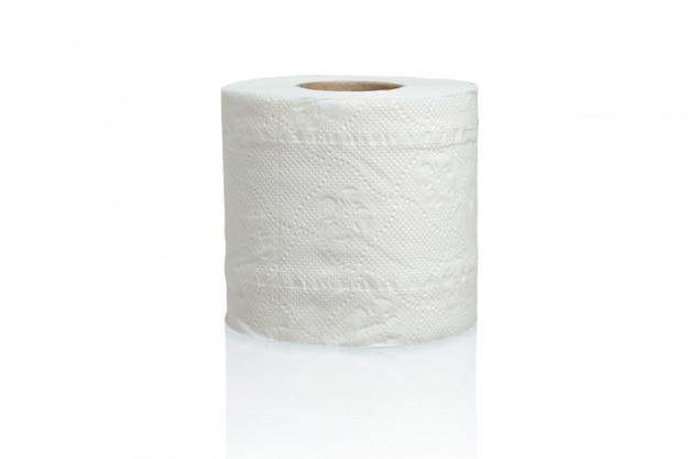 Sluit omhoog op geïsoleerd toiletpapier Premium Foto