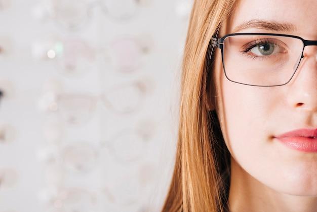 Sluit omhoog portret van ogen van vrouw Gratis Foto