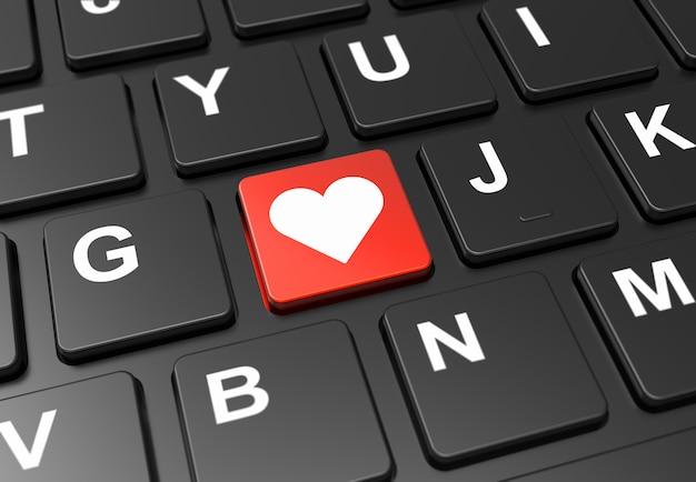 Sluit omhoog rode knoop met hartteken op zwart toetsenbord Premium Foto