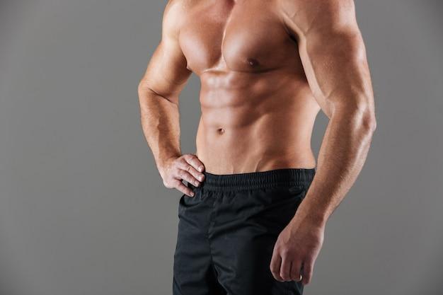 Sluit omhoog van een gespierd geschikt mannelijk bodybuildertorso Gratis Foto