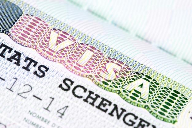 Sluit omhoog van schengenvisum Premium Foto