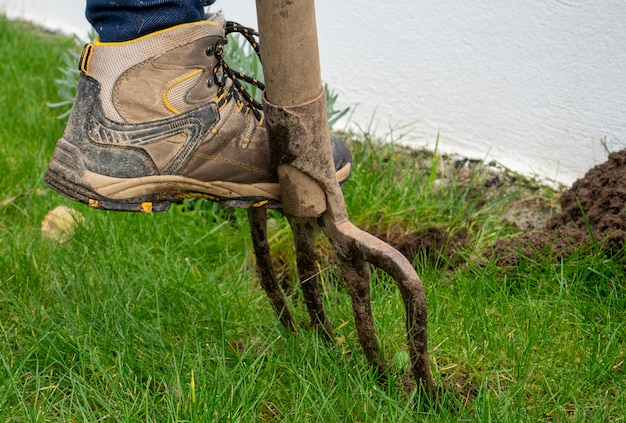 Sluit omhoog van vrouw het tuinieren met spade Premium Foto