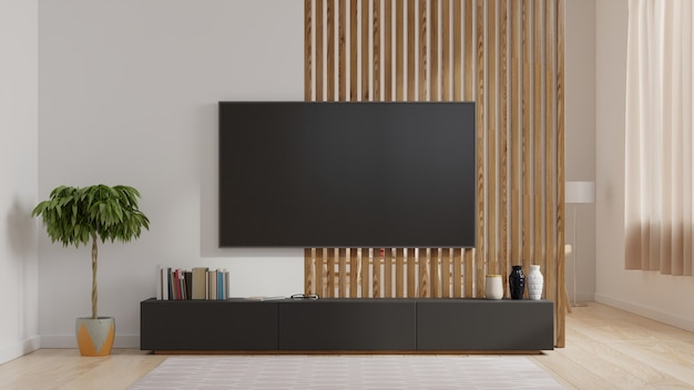 Smart Tv Op De Witte Muur In De Woonkamer Minimalistisch Design Premium Foto