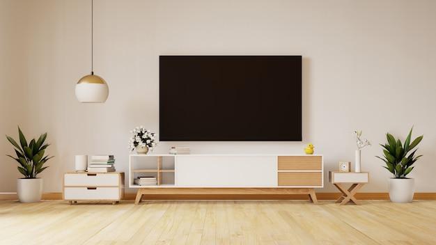 Smart tv op de witte muur in woonkamer, minimaal ontwerp, het 3d teruggeven Premium Foto