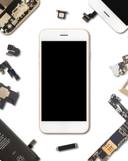 Smartphone-componenten isoleren op wit Premium Foto