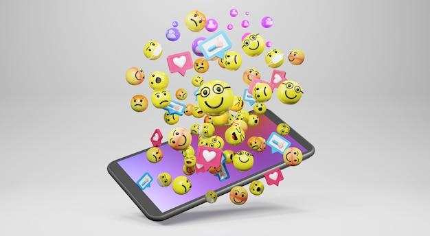 Smartphone met cartoon emoticons iconen voor sociale media. 3d-weergave Premium Foto