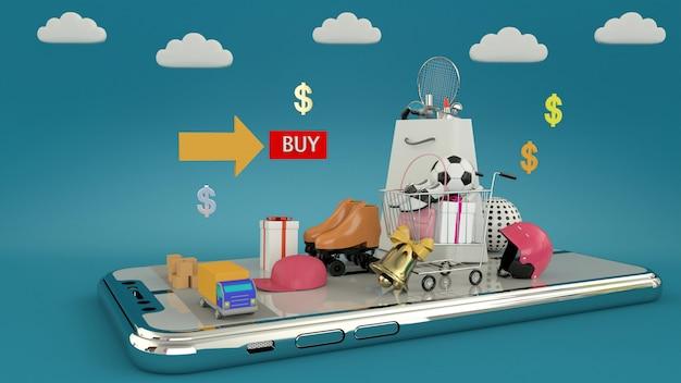 Smartphone om inhoud in te gaan die door het winkelen zakken, boodschappenwagentjes, het 3d teruggeven wordt omringd Premium Foto