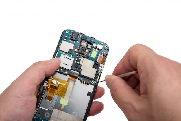 Smartphone reparatie. Premium Foto