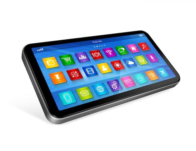 Smartphone touchscreen hd - interface voor apps-pictogrammen Premium Foto