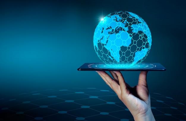 Smartphones en globe-verbindingen ongebruikelijke communicatiewereld internet Premium Foto