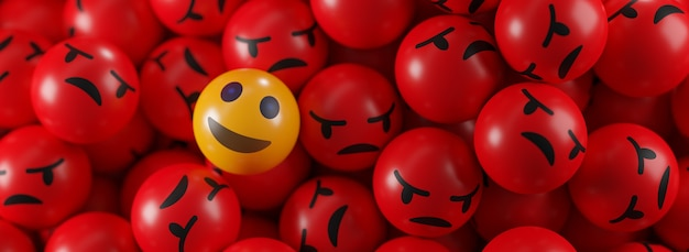 Smile emoji between a bunch of angry emoticons banner Premium Foto