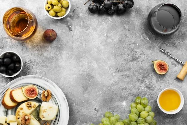 Snacks met een wijnrek Premium Foto