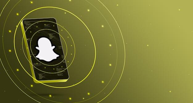 Snapchat-logo op telefoon met technologische weergave, slimme 3d render Premium Foto