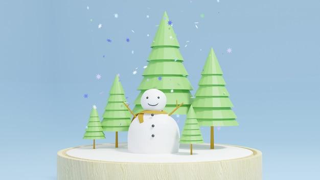 Sneeuw man en groene boom in sneeuw glazen bol en cirkel houten plaat Premium Foto
