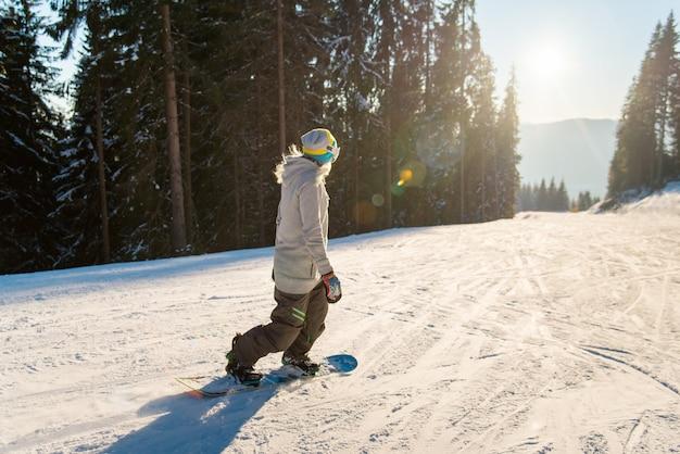 Snowboarder die in de bergen op een zonnige de winterdag berijdt Premium Foto