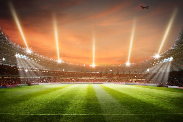 Soccer stadium 3d-rendering voetbal stadion veld arena Premium Foto
