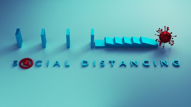 Sociaal afstandsconcept. veilige afstand die het domino-effect stopt als een metafoor om verspreiding te voorkomen door sociale afstand te gebruiken om te voorkomen dat het covid-19-coronavirus zich verspreidt. 3d-weergave. Premium Foto