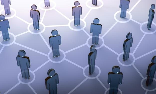 Sociaal netwerk, 3d illustratie Premium Foto