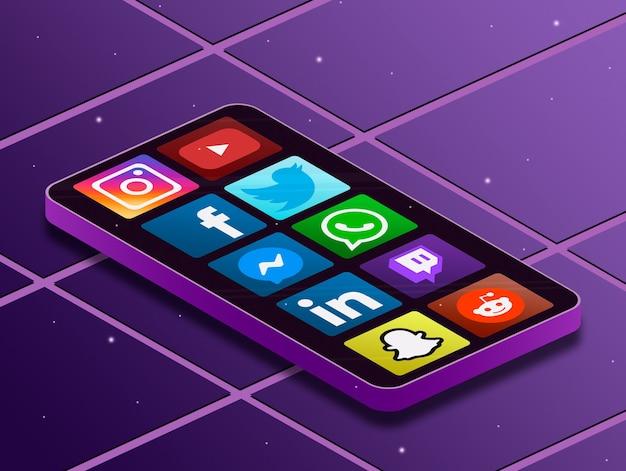 Social media logo iconen op scherm telefoon 3d Premium Foto