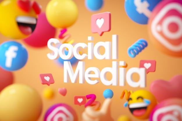 Social media-logo met emoji's Premium Foto