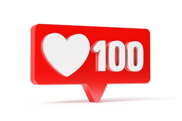 Social media network love and like heart icon, 100 likes Premium Foto
