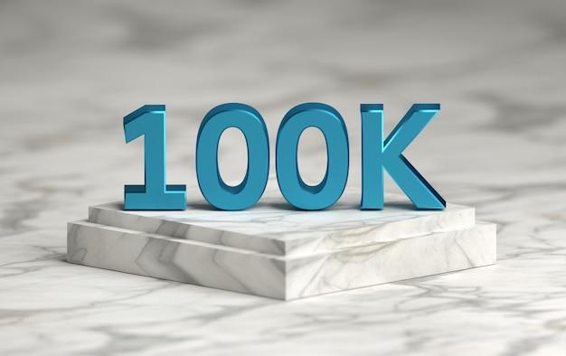 Social media nummer 100k houdt van volgers op het podium Premium Foto