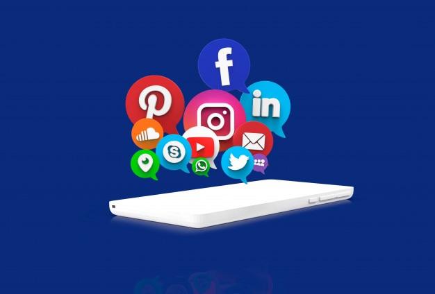 Sociale netwerktoepassingen op witte cel Premium Foto
