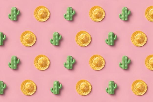 Sombrero en cactuspatroon op roze. creatief mexicaans Premium Foto