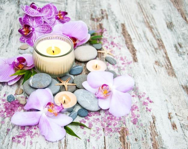 Spa-producten met orchideeën Premium Foto