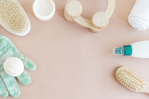 Spa wellness schoonheid mock up, plat leggen van verschillende schoonheidsverzorging producten Premium Foto