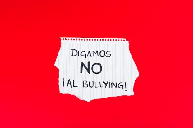 Spaans laten we nee zeggen tegen pesten slogan Gratis Foto