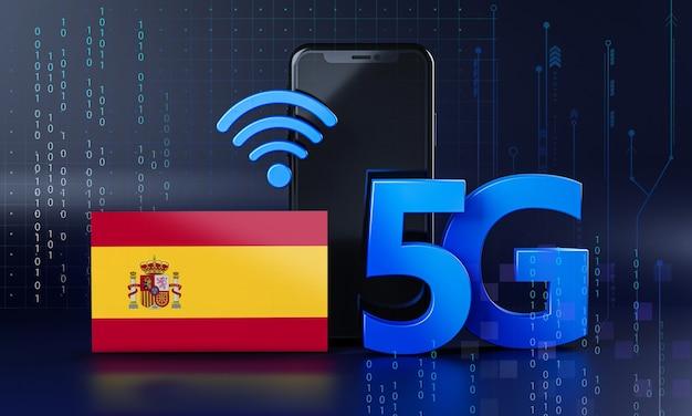 Spanje klaar voor 5g-verbindingsconcept. 3d-rendering smartphone technische achtergrond Premium Foto