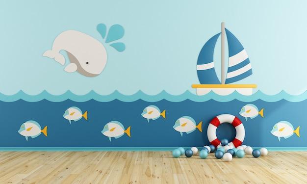 Speelkamer in maritieme stijl zonder meubels. 3d-weergave Premium Foto