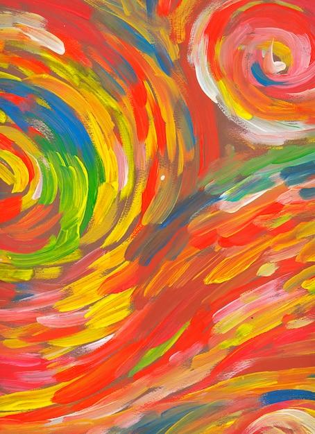 Spiraalvormig rood achtergrondhand getrokken verf abstract art Premium Foto