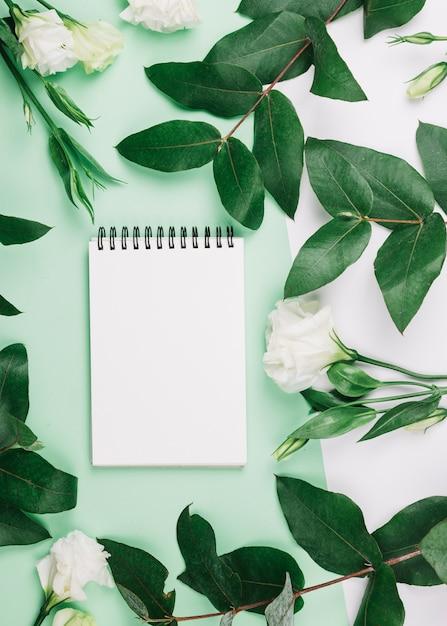 Spiraalvormige eustomabloemen en bladeren op dubbele groene en witte achtergrond Gratis Foto