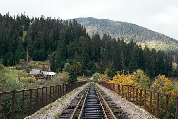 Spoorbrug over een vallei in de bergen in het typische oekraïense dorp vorokhta Premium Foto
