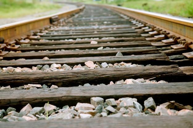 Spoorwegspoor, close-up Premium Foto