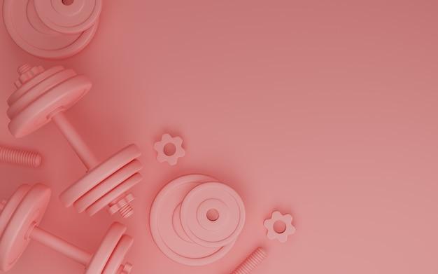 Sportfitnessapparatuur, platen metalen halter of barbell op roze kleur achtergrond, 3d-rendering. Premium Foto