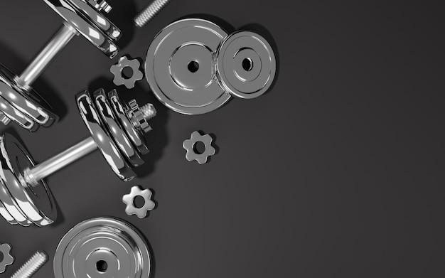 Sportfitnessapparatuur, platen metalen halter of barbell op zwarte achtergrond, 3d-rendering. Premium Foto