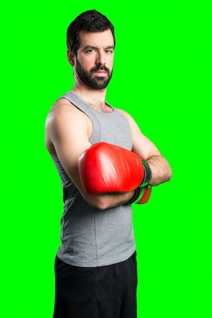Sportman met bokshandschoenen Gratis Foto
