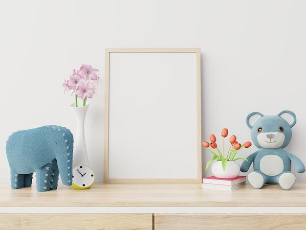 Spot op affiches in het binnenland van de kindruimte, het 3d teruggeven Premium Foto