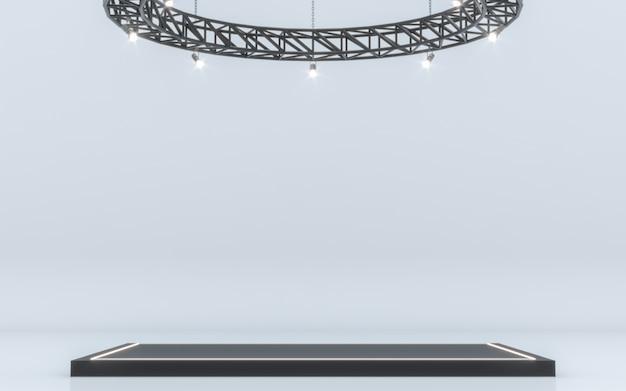 Spotlight achtergrond en lamp met podium. 3d-rendering Premium Foto